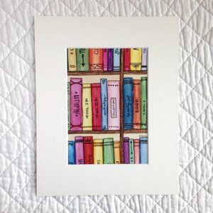 """The Bookshelf"" 5x7 Artwork Print With Mat"